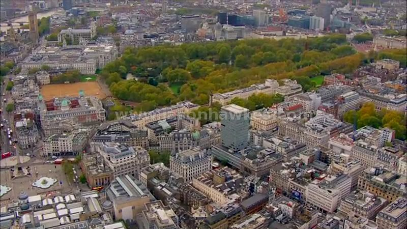 Aerial footage of Trafalgar Square and Buckingham Palace, London