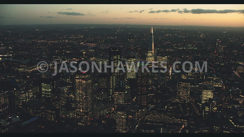 Night aerial footage of the City of London, Square Mile, Financial District, London.