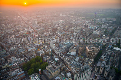 Aerial view of West London at sunset