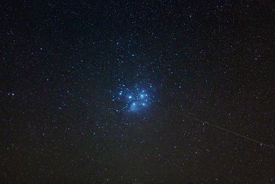 Pleiades and the glow of a meteor on Dec 1 2014.
