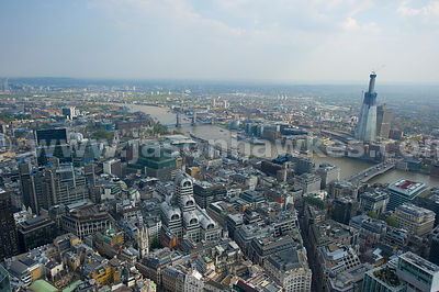 Aerial view over the City looking towards The Shard, London