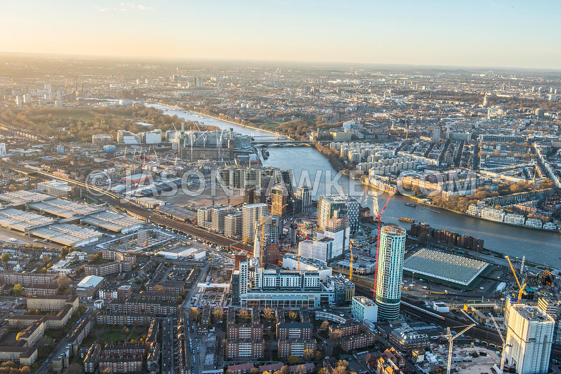 Aerial view of Nine Elms and Battersea. London. UK.