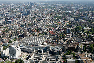 Panoramic aerial photograph of the area around Waterloo Station London England UK showing  Southwark St, London SE1 , Becket ...
