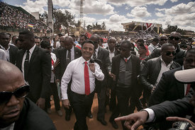 Marc RAVALOMANANA, former President of Madagascar and candidate in the 2018 presidential election, greets his supporters at h...