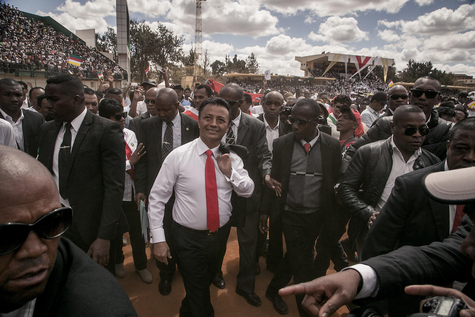Marc RAVALOMANANA, former President of Madagascar and candidate in the 2018 presidential election, greets his supporters at his first major political meeting at the Mahamasina stadium in Antananarivo on August 25, 2018.