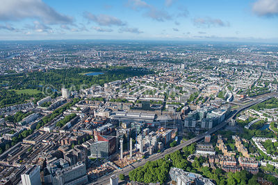Aerial view of London Paddington Station and Basin