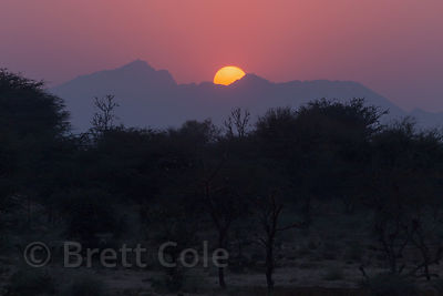 Desert sunset over the Aravali mountains, Khori village, Rajasthan, India