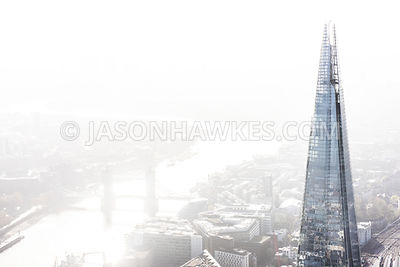 Very bright contrast, Shard, London, aerial view.