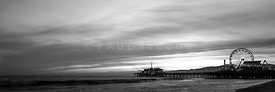Santa Monica Pier Black and White Panorama Picture