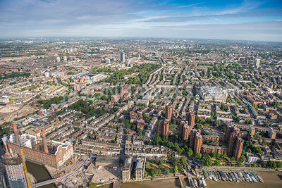 Aerial view of London, World's End Estate with Chelsea Creek.