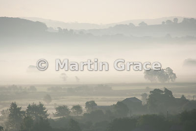 Early-morning Lyth Valley unusually misty for late September, Cumbria, England