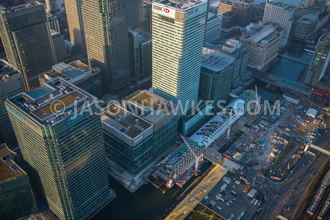 Aerial view of Crossrail construction at Canary Wharf, London
