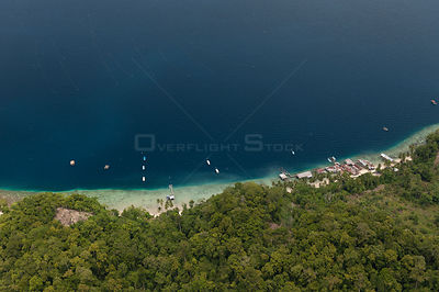 Aerial of Raja Ampat's islands, sand cays and lagoons. A pearl farm operates in these waters, February 2010