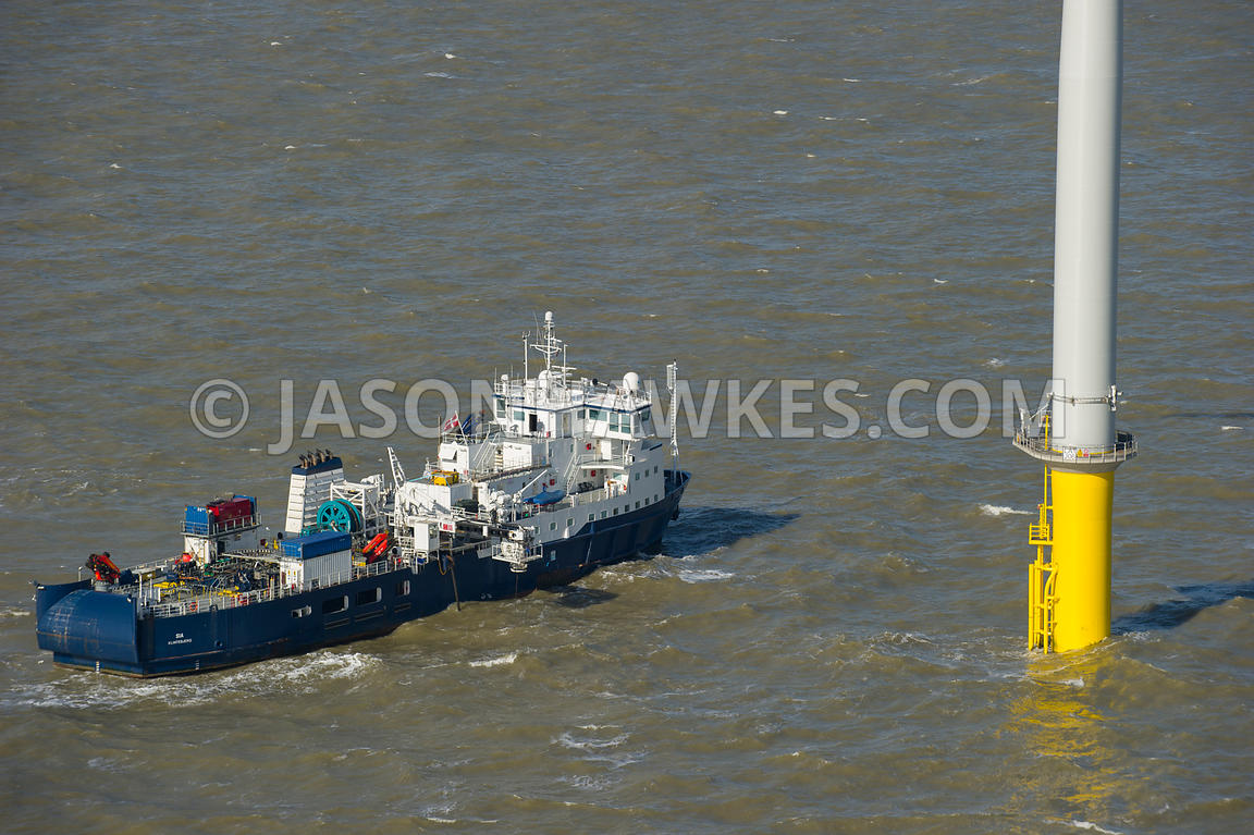 Aerial view of the London Array Wind Farm, Thames Estuary, United Kingdom