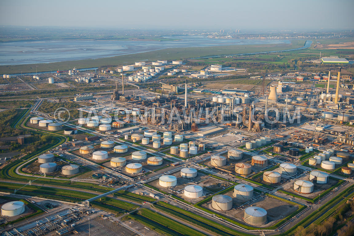 Aerial view of Stanlow Refinery, an oil refinery in Ellesmere Port