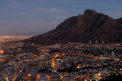 View of Cape Town and Table Mountain at dusk, South Africa