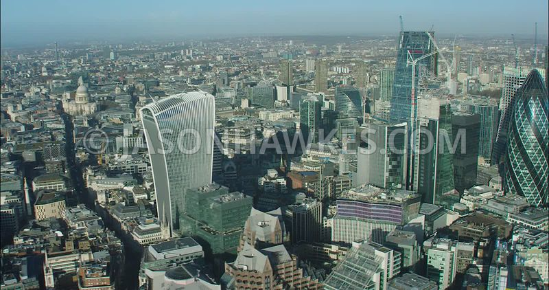 London Aerial footage, 20 Fenchurch Street towards Heron Tower