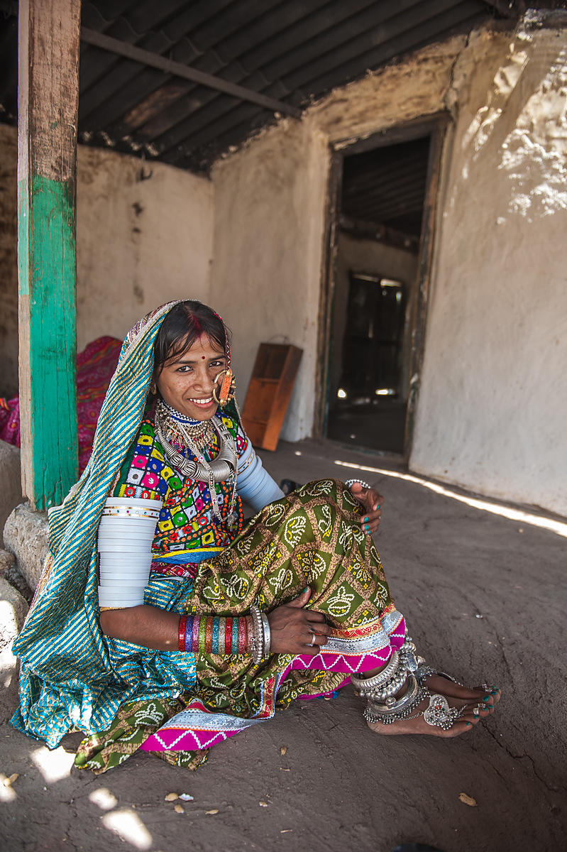This portrait of a young bride was shot in a village in Bhuj, Gujarat