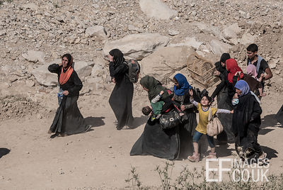 Women and children walking through the dust on their way out of Mosul - they haven't brought much with them, but the bird is ...