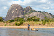 Dugout canoe on the Lugenda river, Niassa Game Reserve, Mozambique