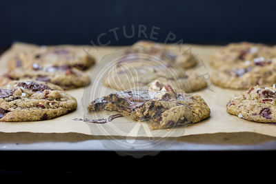 Gooey Chocolate Chip Cookies with Salt and Pecans, Freshly Baked