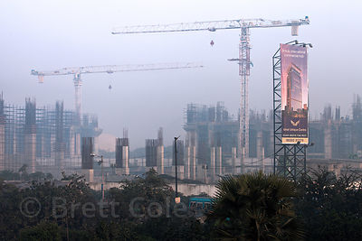 Banner advertising a new high-rise construction project near Science City, Kolkata, India.