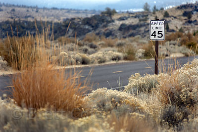 Speed limit sign in the middle of nowhere near Lava Beds NM, Tule Lake NWR, California