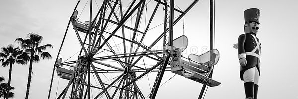Newport Beach Ferris Wheel Bllack and White Panorama Photo
