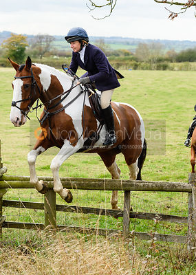 Clare Bell jumping onto Bruce's Lane. The Cottesmore Hunt at Somerby