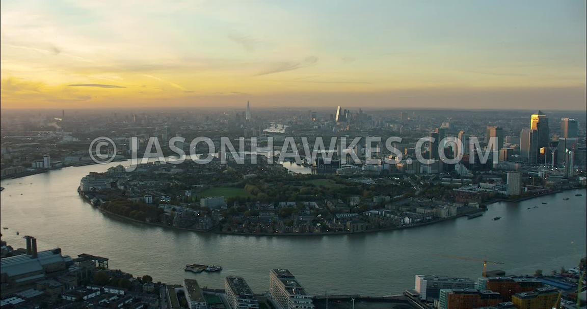 London Aerial Footage bend in River Thames at Docklands.