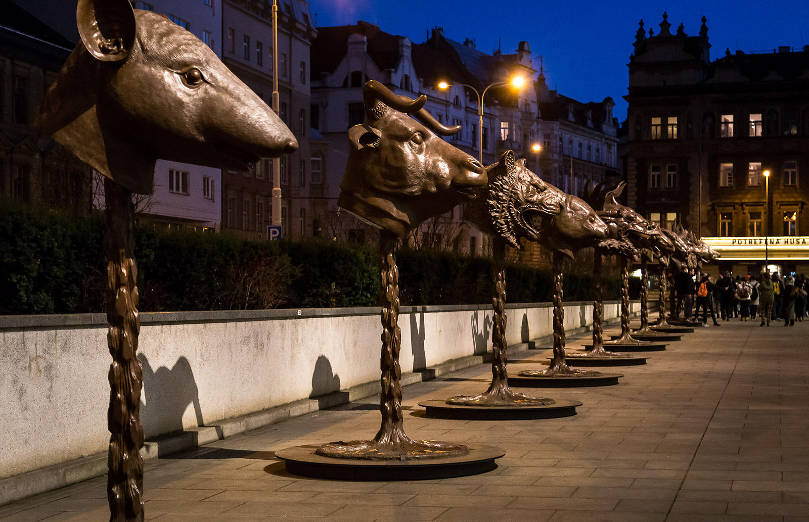 "Ai Weiwei's ""Circle of Animals/Zodiac Heads"" in front of the Trade Fair Palace in Prague"