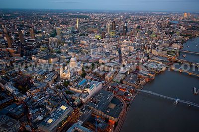 Aerial view over Bank and St Paul's Cathedral at dusk, London