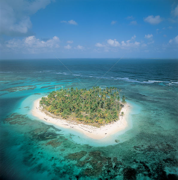 Aerial view of island with coconut palms, San Blas, Panama, Caribbean Sea