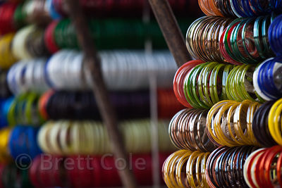Bangles for sale on a cart at a market in Jodhpur, Rajasthan, India