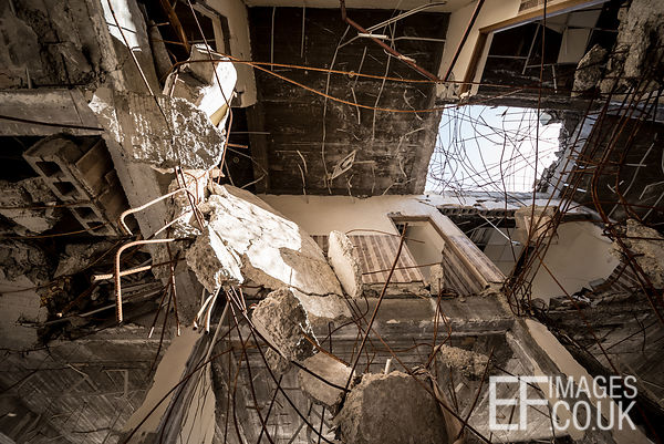 Looking up through destroyed floors of Sinjar City Town Hall. This is what airstrike damage looks like. Iraq, May 2017