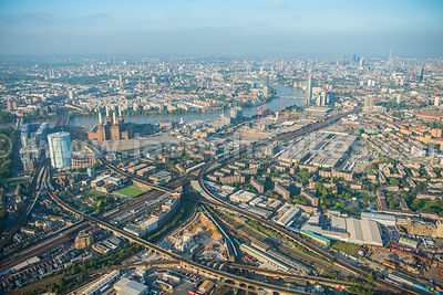 Aerial view of Battersea, Nine Elms, London