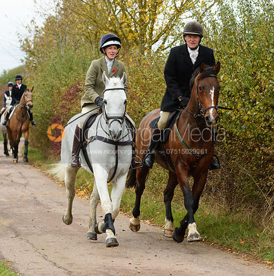 Frankie Wyatt, Charlie Smith on Newbold Road. The Cottesmore Hunt at Somerby