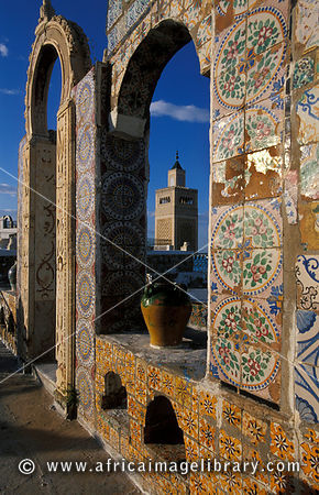 view of the Great Mosque from a traditionally tiled terrace, Tunis medina, Tunisia