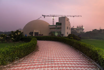 Dusk over the Earth Exploration Hall at Science City, Kolkata, India.