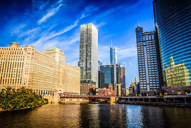 Downtown Chicago at Franklin Street Bridge Picture