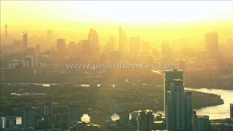 Aerial footage of the City of London at dusk, London, England UK