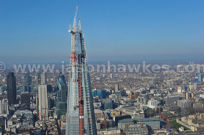 Aerial view of the Shard, London, UK.