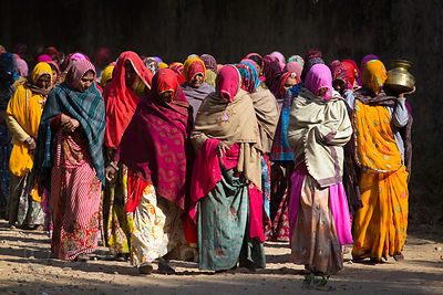 A group of women walk in a funeral procession, Ganahera, Rajasthan, India