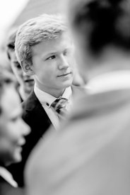 Young Nordic boy in suit and bluish tie 3 (black/white picture)