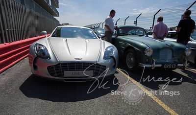 Lining up in the Silverstone Pit Lane - The Aston Martin Centenary at the Silverstone Classic 2013