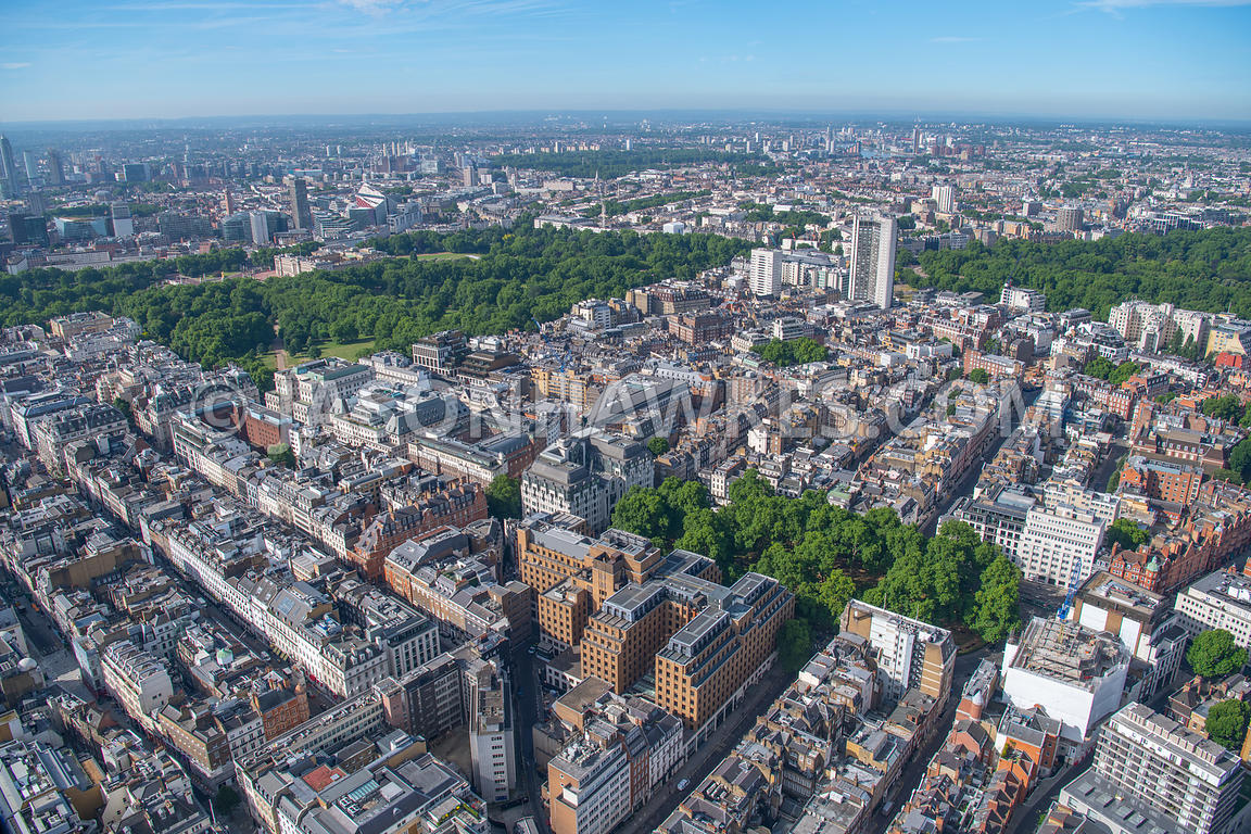 Aerial view of Mayfair, Berkeley Square, London . Berkeley Square, Berkeley Square Gardens, Berkeley Square House, Berkeley S...