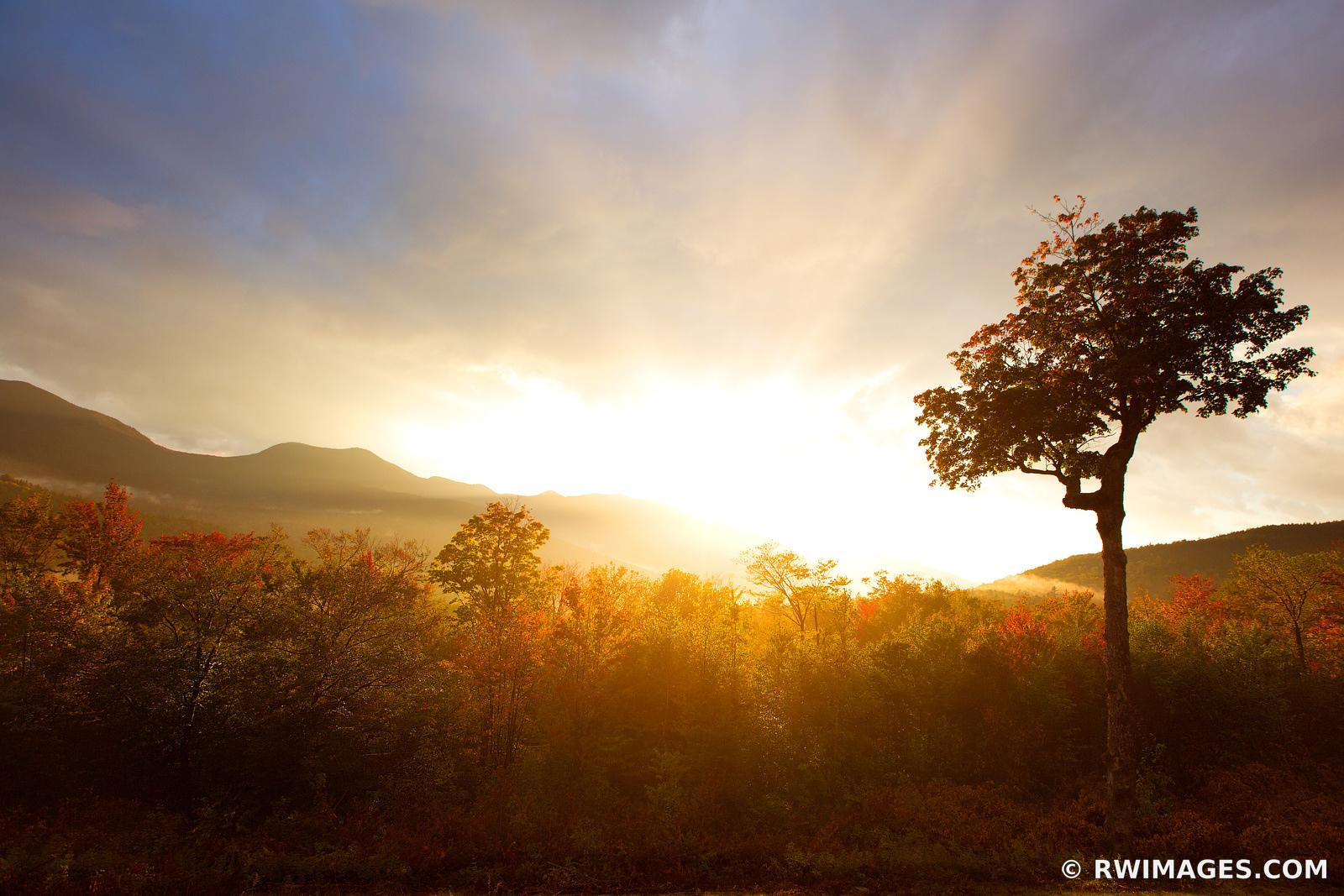SUNSET KANCAMAGUS PASS WHITE MOUNTAINS KANCAMAGUS HIGHWAY NEW HAMPSHIRE FALL COLORS