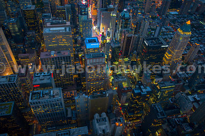 Aerial view of the buildings that surround Times Square, Manhattan