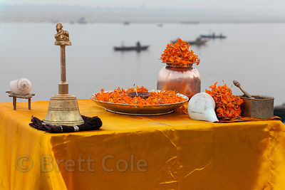 Altar near Dashashwamedh Ghat, Varanasi, India.