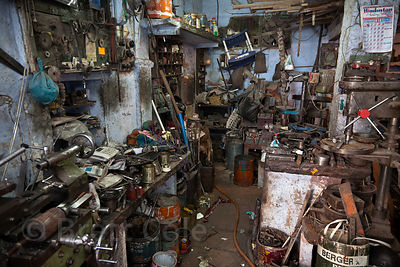 An impossibly cluttered machine shop in Jodhpur, Rajasthan, India